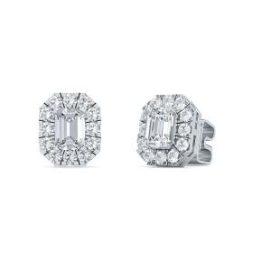 1.50 Ct Emerald Shape Lab-Grown Diamond Halo Earrings set in 14K White Gold