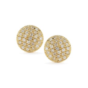 Yellow Gold Lauren Joy Pave Medium Disc Earrings