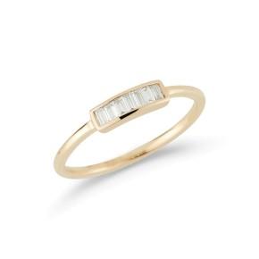 Yellow Gold Sadie Pearl Baguette Ring