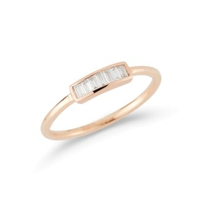 Rose Gold Sadie Pearl Baguette Ring