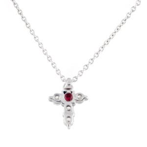 Roberto Coin 18K White Gold 0.20ct Diamond Baby Cross Necklace