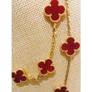 Van Cleef & Arpels 18K Yellow Gold & Carnelian 20 Motifs Alhambra Necklace