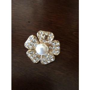 Chanel Crystal and Simulated Glass Pearl Flower Brooch