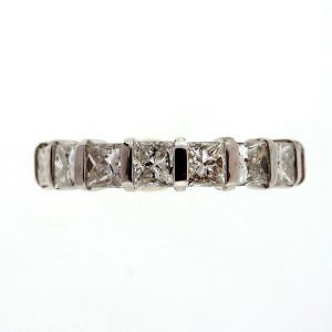 Platinum with 1.71ct Diamond Wedding Band Ring Size 6