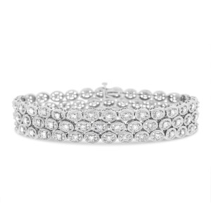 14K White Gold  6.30ct Diamond In Oval Design Bracelet