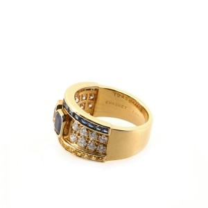 Chaumet Band Ring 18K Yellow Gold with Blue and Yellow Sapphires and Diamonds