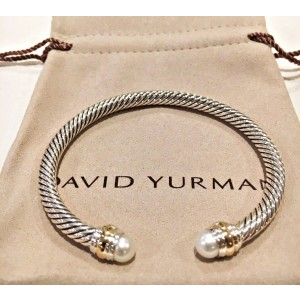 David Yurman Cable Classic Sterling Silver & 14K Yellow Gold with Pearl Bracelet