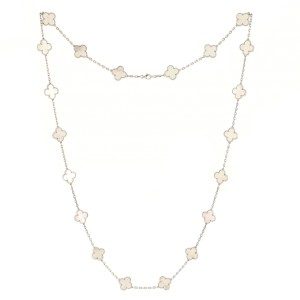 Van Cleef & Arpels Vintage Alhambra 20 Motifs Necklace 18K White Gold and Mother of Pearl