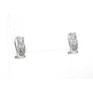 18K Gold Round & Baguette Cut Diamond Drop Stud Earrings Omega