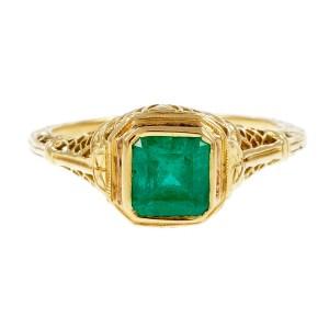 Vintage 18K Yellow Gold 0.75ct Emerald Filigree Ring Size 6.25