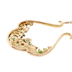 14K Yellow Gold Green Tsavorite Garnet & Diamond Dangle Earrings