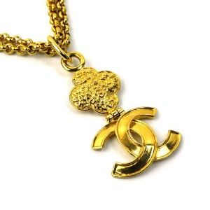 Chanel Gold Tone Coco Mark Pendant Long Chain Necklace