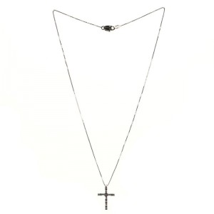 Damiani Cross Pendant Necklace 18K White Gold and Diamonds