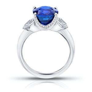 Platinum 5.42ct. Sapphire 0.66ctw. Diamond Ring Size 7