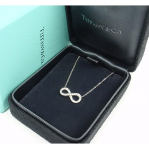 Tiffany & Co. Infinity 950 Platinum & 0.10ct Diamond Pendant Necklace