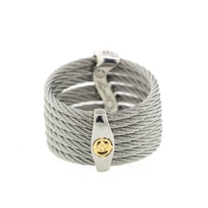 Alor 18K White Gold/Stainless steel & Stainless steel Cable RING