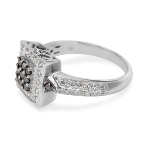 Black Treated Diamond Ring in 14K White Gold  (1.10 CTW)