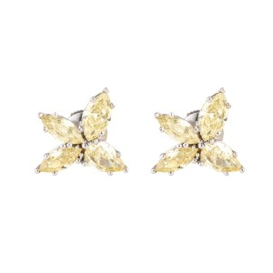 3.03 Carats Of Natural Fancy Yellow Diamonds Flower Earrings 18k White Gold
