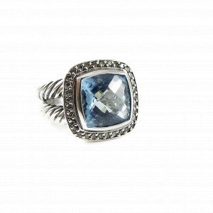 David Yurman Albion Sterling Silver Topaz 0.24ctw Diamond Ring Size 6