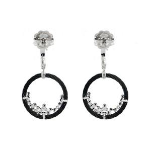Alor 18K White Gold/Stainless steel & Black PVD, 0.27CT Black, Earring