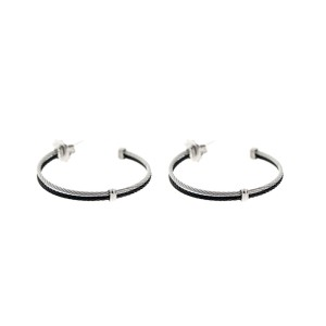 Alor 18K White Gold/Stainless steel & Black PVD & Stainless steel Cable Earring