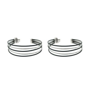 Alor 18K White Gold/Stainless steel & Black PVD & GRAY Cable Earring