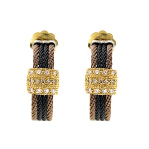 Alor 18K /Sterline Silver & Bronze & Black PVD Cable Earring