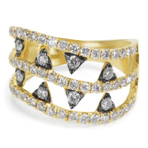 BRAND NEW Diamond and Rhodium Ring in 14K Yellow Gold (1.28 CTW)