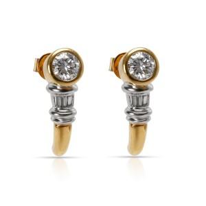 Bezel Set Semi Hoop Diamond  Earrings in 18KT Two Toned Gold 0.73 CTW