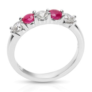 BRAND NEW Diamond & Ruby 5-Stone Band in 14K White Gold (0.62 CTW)