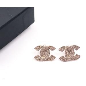 Chanel Sterling Silver Double CC Crystal Piercing Earrings