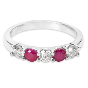 BRAND NEW Diamond & Ruby 5-Stone Ring in 14K White Gold (0.46 CTW)