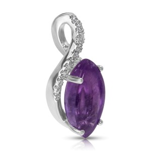 BRAND NEW Amethyst Marquise Pendant in 14k White Gold with Diamonds (0.15 CTW)