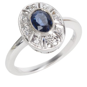 BRAND NEW Diamond & Sapphire Vintage Style Ring in 18K White Gold (0.10 CTW)
