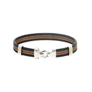 Alor 18KT/ Stainless steel Bronze-Black PVD Cable Bracelet