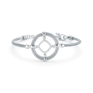 18K White Gold and Stainless Steel Grey Cable 0.28ct Diamond Bangle
