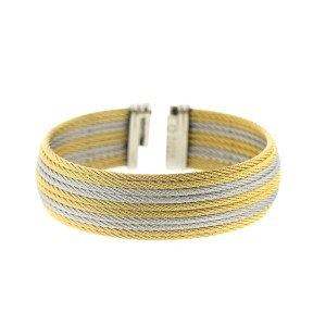 Alor 18K Yellow gold/stainless steel with 10 ROW Yellow AND GREY cable Bangle