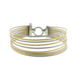 Alor 18K White Gold/Stainless steel With. yellow PVD & Stainless steel cable Bangle