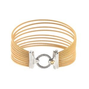 Alor 18K White Gold/Stainless steel W. MULTI COLOR cable Bangle