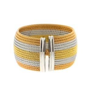 Alor 18K Yellow Gold/Stainless steel with. 16 ROWTRI COLOR cable Bangle
