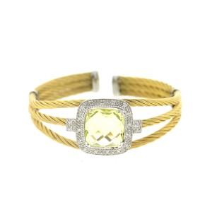 Alor 18K White Gold & Stainless steel & LEMON QRTZ Bangle