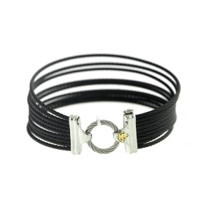 Alor 18K White Gold/Stainless steel with Black PVD cable Bangle