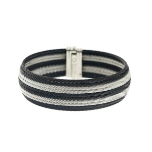 Alor 18K Yellow Gold/Stainless steel with 10 ROW Black AND GREY Bangle