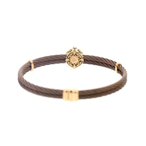Alor 18K yellow gold & Bronze PVD Sterline Silver with Champage Diamonds Bangle