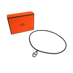 Hermes Leather Silver Tone Metal Choker Necklace