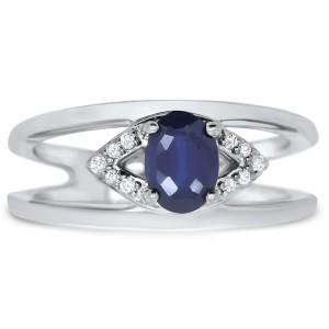 14K White Gold 0.93ct Blue Sapphire & 0.05ctw Diamond Ring Size 6.75