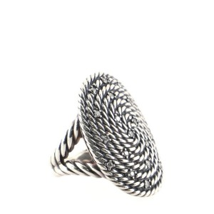 David Yurman Cable Coil Oval Ring Sterling Silver with Diamonds