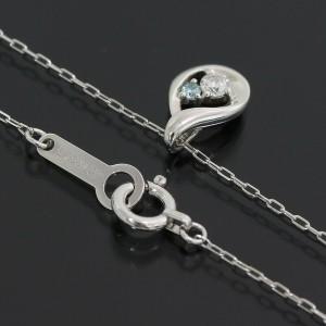 4℃ 18K White Gold Diamond & Aquamarine Design Pendant Necklace