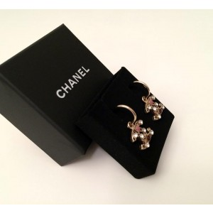 Chanel Gold-Tone Crystal Purple & Pink Accent Logo Dangle Earrings