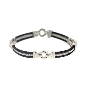 Alor 18KT/ stainless steel with Black PVD & GRAY Cable Bracelet